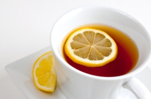Inviting hot tea with lemon